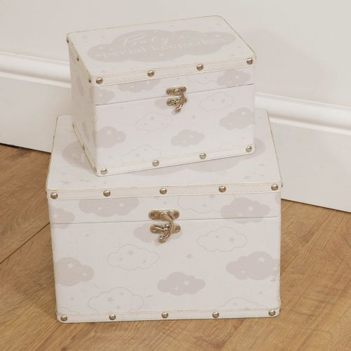 Set of 2  Baby storage Boxes - Baby Keepsake Boxes - Christening, New Baby Nursery Decor Gift